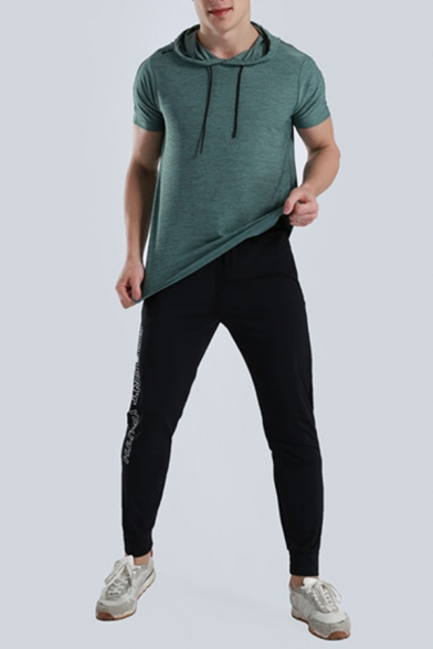 Summer Sport Popular Solid Color Short Sleeves Relaxed Breathable Fitness Hoodie