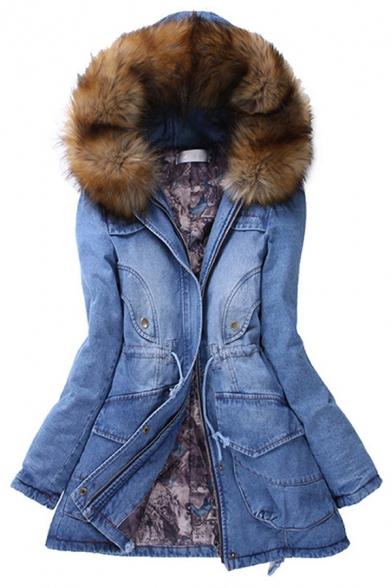 Trendy Ladies' Long Sleeve Hooded Drawstring Flap Pockets Fluffy Trim Slim Fit Thick Denim Coat in Blue