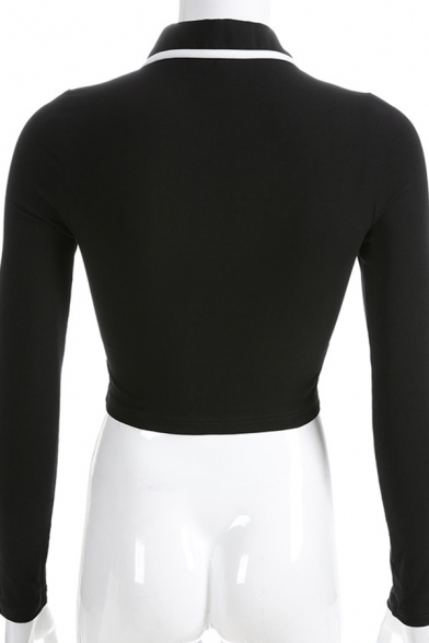 Women Chic Fashion Long Sleeve Lapel Collar Zip Up Contrast Piped Fitted Crop Coat in Black
