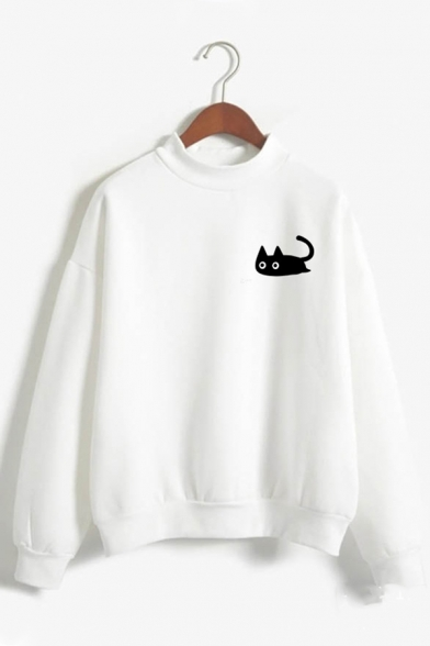 Womens Cute Black Cat Printed Long Sleeves Mock Neck Relaxed Sweatshirt, Green;pink;red;royal blue;white;gray;khaki;sky blue, LC587108