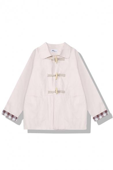 Абрикос симпатичные длинным рукавом нагрудные воротник шотландка печать мешковатые спортивные куртки для девочек