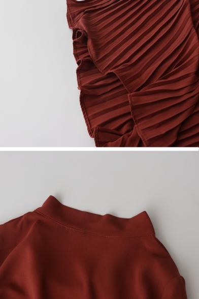 Brownish Red Casual Blouson Sleeve Bow Tie Collar Pleated Midi Oversize Swing Dress for Women