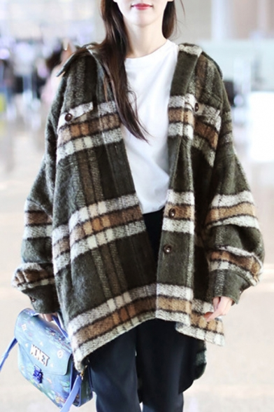 Casual Fashion Ladies' Balloon Sleeve Lapel Collar Button Down Flap Pockets Plaid Pattern Oversize Wool Coat in Green