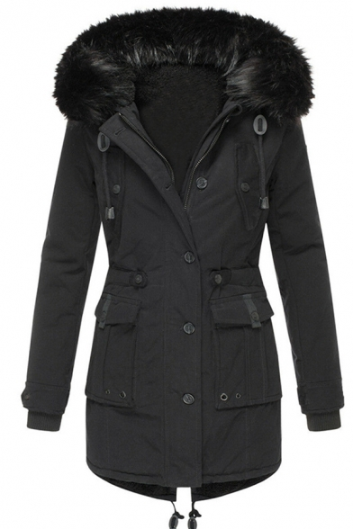 Casual Girls' Long Sleeve Hooded Drawstring Button Zipper Front Flap Pockets Fluffy Trim Plain Loose Midi Parka Coat