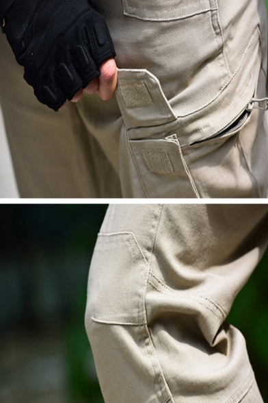 Casual Outdoor Fashion Plain Pocket Side Straight Fit Cargo Pants for Men