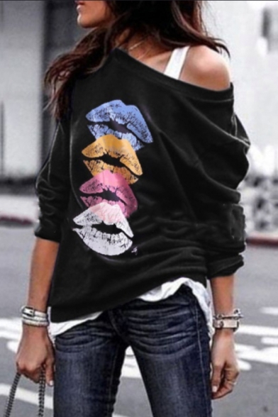 Casual Trendy Long Sleeve Drop Shoulder Lips Printed Relaxed Fit Pullover Sweatshirt for Ladies, Black;red;purple;dark gray;coffee, LM582310