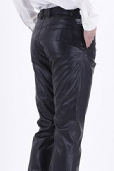 Cool Fashion Black PU Leather Zipper Placket Straight Fit Men's Pants