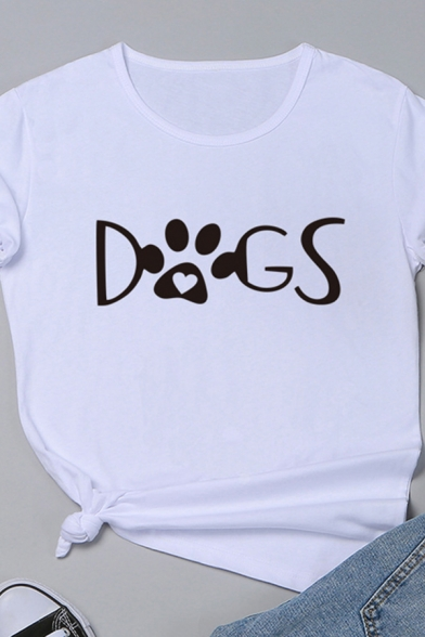 Cute Animal Claw Letter DOGS Printed Short Sleeve Crewneck Leisure T-Shirt, Green;pink;white;gray;yellow, LC582668