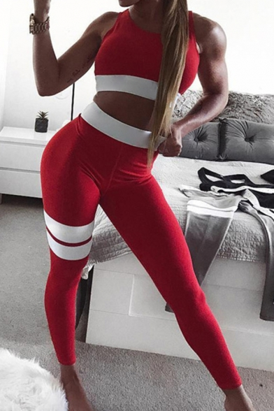 Edgy Girls Sexy Fashion Contrast Trim Cutout Back Crop Tank with Striped Skinny Pants Co-ords