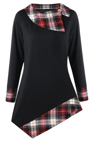 Fashion Casual Girls' Long Sleeve Exaggerate Collar Button Decoration Plaid Patched Asymmetric Hem Relaxed T-Shirt