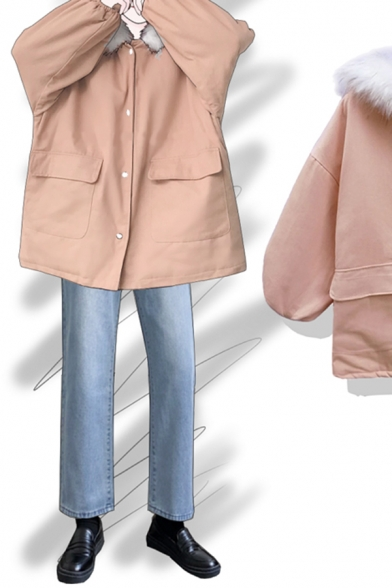 Korean Style Cute Blouson Sleeve Hooded Button Down Flap Pockets Fluff Patched Plain Thick Oversize Parka Coat for Girls