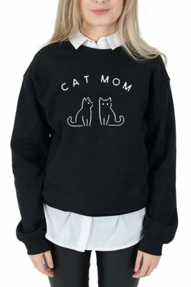 Lovely CAT MOM Printed Long Sleeve Crew Neck Graphic Pullover Sweatshirt, Black;pink;white;gray, LC583525