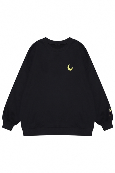 Lovely Moon Cat Embroidery Pattern Long Sleeve Oversized Pullover Sweatshirt