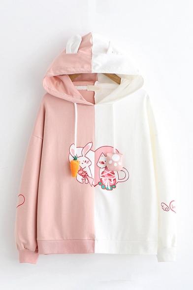 Lovely Rabbit Print Carrot Paw Drawstring Hood Long Sleeves Baggy Colorblock Hoodie