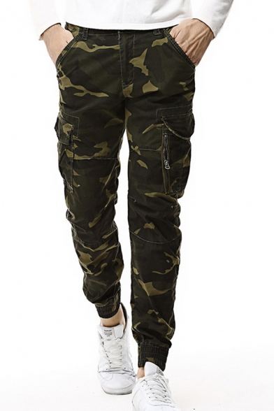 Men's Simple Camouflage Printed Zip Fly Multi Pockets Relaxed Cargo Pants