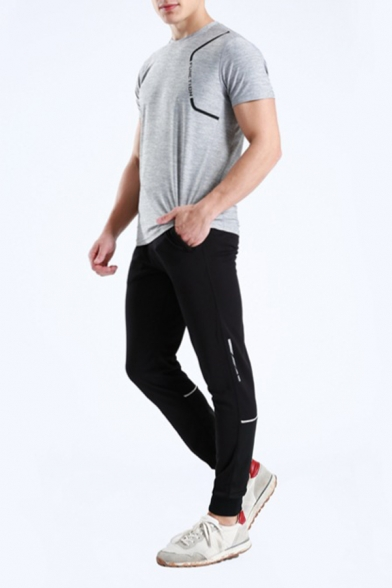 Mens Simple Black Drawstring Waist Tape Insert Slim Fit Outdoor Sports Pants