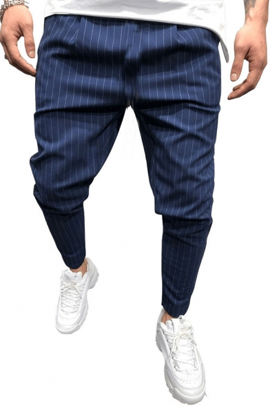 Mens Simple Pinstripe Printed Slim Fit Suit Pants Casual Trousers with Pocket