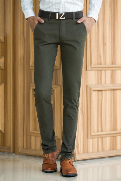 Mens Simple Plain Zipper Fly Straight Fit Business Suit Pants