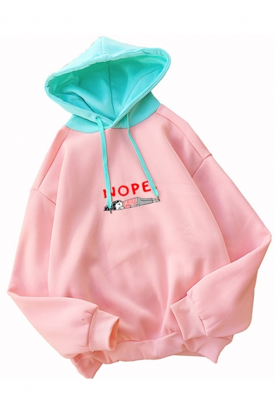 Pink Funny NOPE Letter Printed Colorblock Long Sleeve Drawstring Graphic Hoodie, LC583549