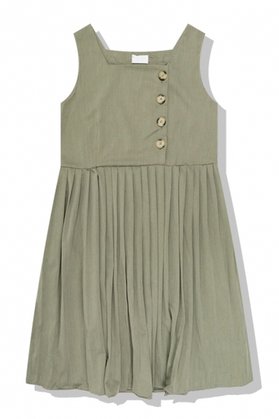 Plain Daily Sleeveless Round Neck Button Front Pleated Midi Relaxed A-Line Dress for Women, Black;green, LM580807