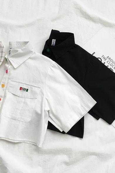 Preppy Girls' Short Sleeve Lapel Neck Button Down Flap Pockets Relaxed Crop Shirt