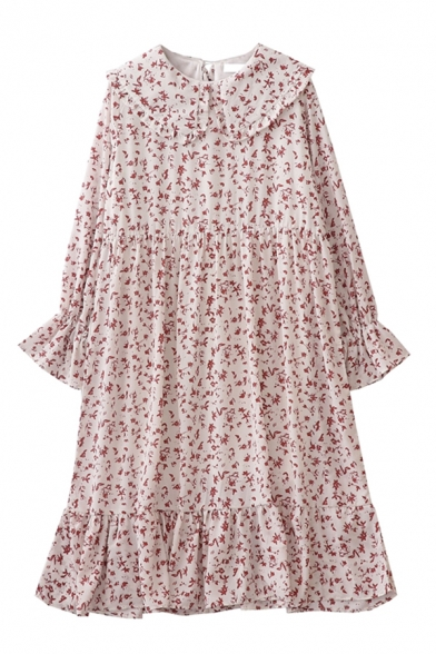 Pretty Ladies' Long Sleeve Peter Pan Collar Floral Printed Ruffle Trim Boxy Pleated Mid Swing Dress in White