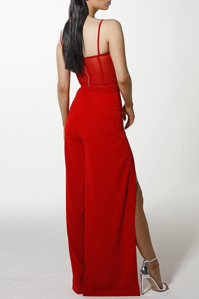 Sexy Fashion Plain Red Bustier Cami Tank with High Split Wide Leg Pants Co-ords