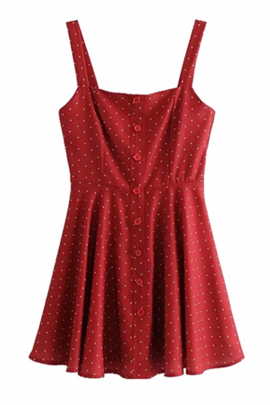 Trendy Red Sleeveless Button Down Polka Dot Zipper Back Pleated A-Line Cami Dress for Women