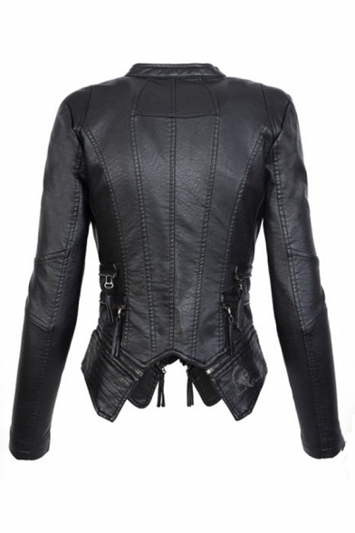Unique Black Long Sleeve Exaggerate Collar Zip Decoration Asymmetric Slim Fit Leather Jacket for Girls