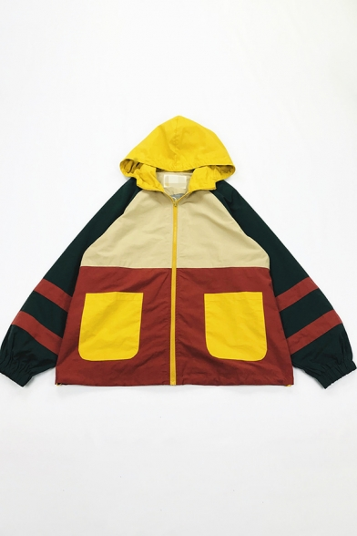 Women Cool Street Long Sleeve Hooded Zipper Front Patched Pocket Stripe Print Contrasted Oversize Short Jacket in Red