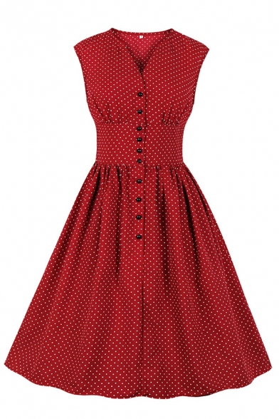 Amazing Casual Sleeveless V-Neck Polka Dot Print Button Down Midi Pleated Flared A-Line Dress for Girls