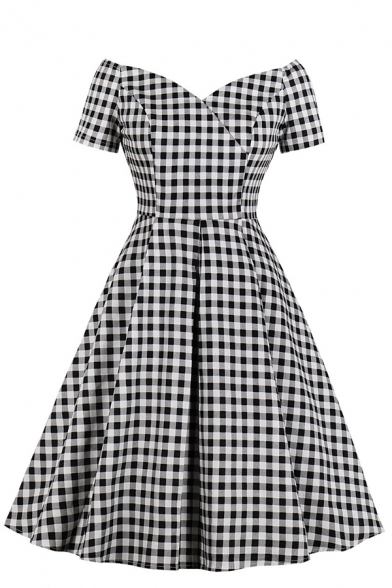 Black Chic Short Sleeve Off The Shoulder Zipper Back Plaid Pattern Midi Pleated Flared Dress for Ladies