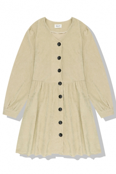 Casual Plain Long Sleeve V-Neck Button Down Pleated Loose Fit Swing Dress for Girls
