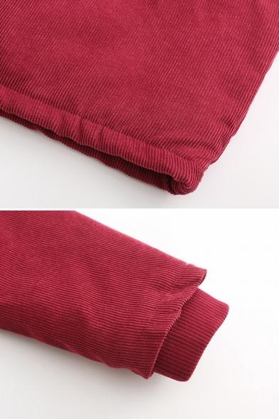Casual Women's Long Sleeve Hooded Button Zip Front Flap Pockets Fluff Trim Corduroy Loose Plain Midi Parka Coat