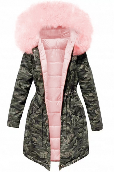Cool Street Girls' Long Sleeve Hooded Button Zipper Front Drawstring Camo Pattern Shearling Trim Fitted Thick Plain Midi Parka Coat, Black;pink, LM579139