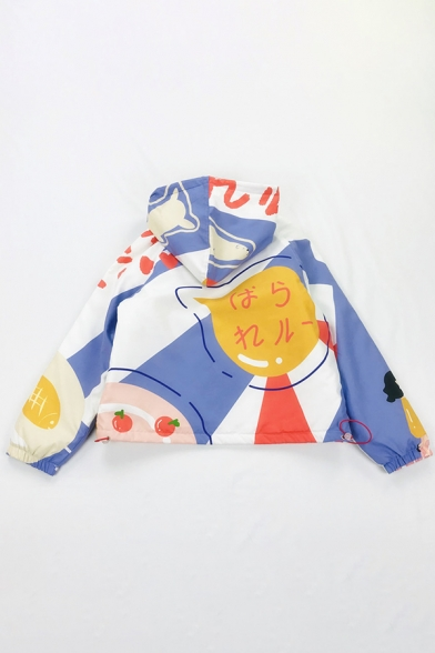 Cute Girls' Long Sleeve Hooded Zipper Front Cartoon Printed Contrasted Baggy Crop Jacket in White
