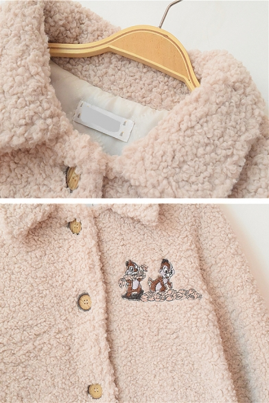 Cute Girls' Long Sleeve Lapel Collar Button Down Pocket Side Chipmunk Patterned Sherpa Fleece Thick Loose Jacket in Pink