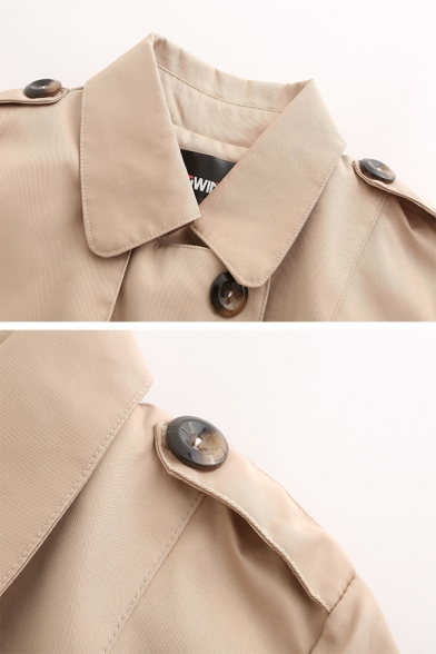 Fashion Plain Long Sleeve Lapel Neck Double Breasted Buckle Belted Flap Pockets Slim Fit Midi Trench Coat for Ladies