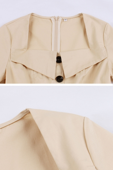 Formal Plain Short Sleeve Turn Down Collar Button Front Buckle Belt Zip Back Midi Pleated Flared Prom Dress for Girls