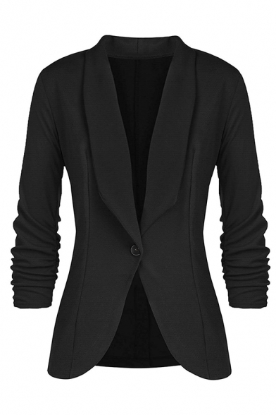 Formal Women's Long Sleeve Shawl Collar Button Front Fitted Plain Work Blazer