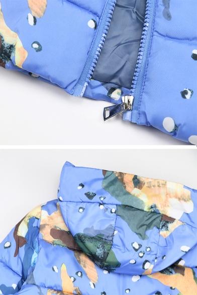 Girls Fashion Warm Long Sleeve Hooded Zipper Front Mixed Pattern Puffer Jacket