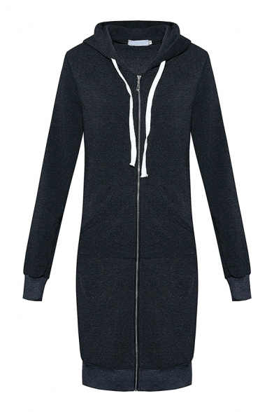 Girls Popular Long Sleeve Zip Up Solid Color Thick Longline Drawstring Hoodie