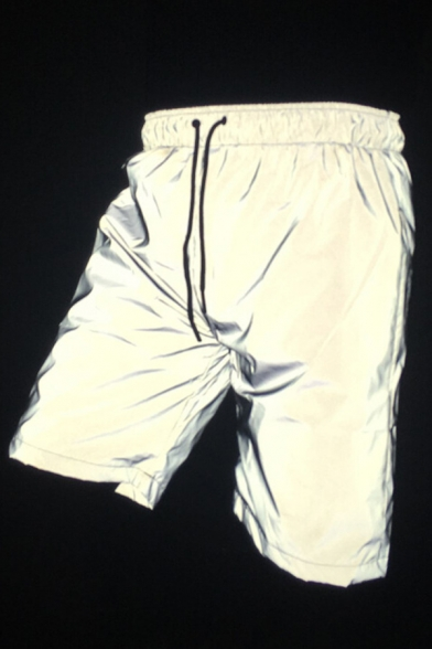 Hip-Hop Style White Drawstring Waist Loose Fit Reflective Shorts with Mesh Liner