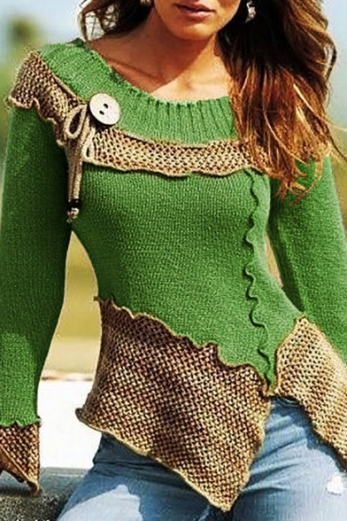 Ladies' Unique Long Sleeve Round Neck Hollow Patched Button Bow Tie Embellished Lettuce-Edge Asymmetric Plain Fit Sweater-Knit Top, Blue;green;red;gray;purple, LM576703