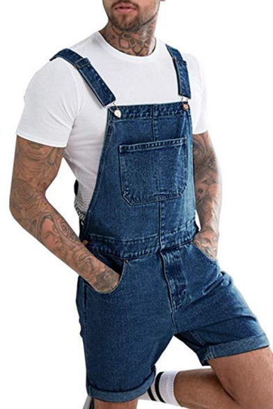 Men's Simple Solid Color Multi Pockets Loose Fit Jeans Shorts Coveralls