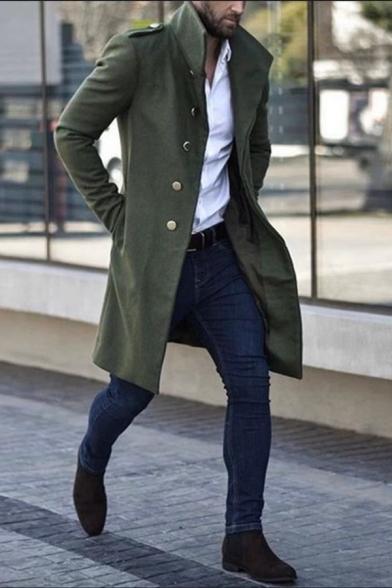 Mens Popular Solid Color Long Sleeve Metal Buckle Decoration Longline Wool Coat