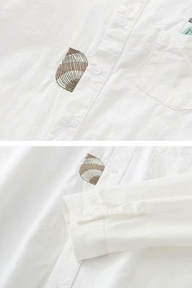 Mori Girl Cute Embroidered Fox Pattern Long Sleeve Button Up White Thin Shirt