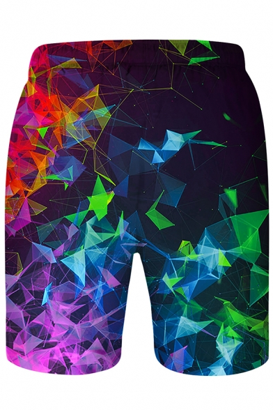New Stylish Colorful Geometric Smoke 3D Printed Drawstring Waist Black Swim Shorts