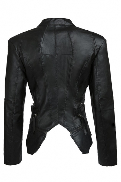 Plain Street Long Sleeve Exaggerate Collar Zipper Front Rivet Embellished Asymmetric Slim Fit Leather Jacket for Girls