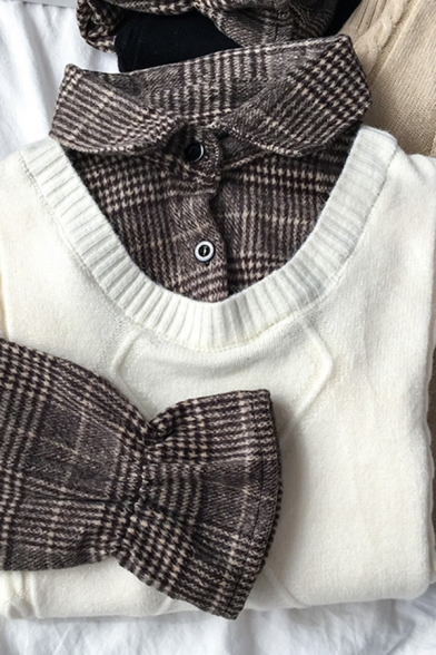 Popular Girls' Ruffle Sleeve Lapel Neck Plaid Printed Cable Knit False Two-Piece Relaxed Shirt
